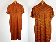 Vintage 1960's 70's Mod Oriental Inspired Geometric Orange and Black Short Sleeved Curvy Dress Snap Buttons Up Chest Women's Medium Large by thiefislandvintage on Etsy