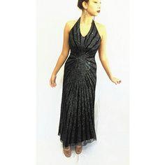 Vintage Sequined Beaded Black Dress Halter Dress Evening Dress Mother... ($46) ❤ liked on Polyvore featuring dresses, halter top prom dresses, sequin prom dresses, halter prom dresses, vintage prom dresses and prom dresses