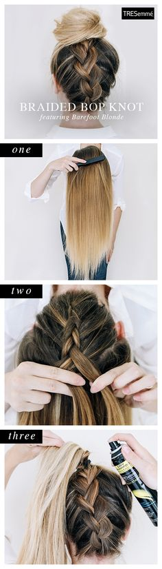 Take a topknot and a braid and you get a bopknot! Perfect for autumns higher necklines. Click to learn how to get the look!