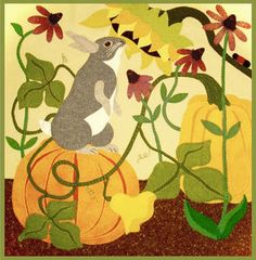 The Pumpkin Patch-by Jerome Thomas Designs-one of a series. Available at The Quilt Rack & Wool Cubby Wool Applique Patterns, Applique Quilts, Rug Patterns, Felt Applique, Pumpkin Applique, Wool Quilts, Penny Rugs, Fall Pumpkins, Rug Hooking