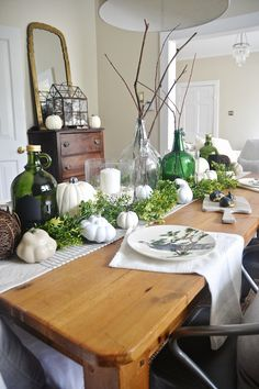 This lovely neutral & green fall dining room on lizmarieblog.com features our #witanddelightfortarget growlers!