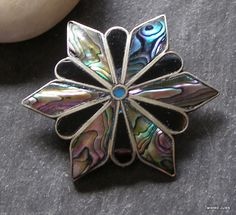 Taxco Alpaca MOP onyx pendant, pin, abalone from twistedjules-rl on Ruby Lane