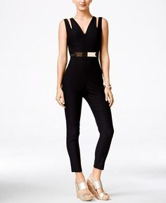 Material Girl Juniors' Sleeveless Belted Jumpsuit, Only at Macy's - Juniors Jumpsuits & Rompers - Macy's