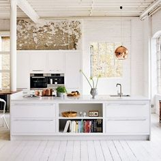 skandinavische Küche-weiße Kücheninsel