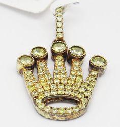 Bold 925 Gold Tone Sterling Silver Pave Crown Life Yellow C Z Mini Pendant  #LeonDiamond #Pendant