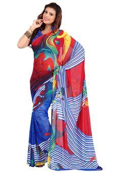 Red-Blue Color Faux Georgette Designer Saree