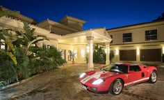 Why not throw in the sports car too? Luxury Holidays, Luxury Travel, Travel Style, Places To Travel, Transportation, Villa, Exterior, Car, Sports