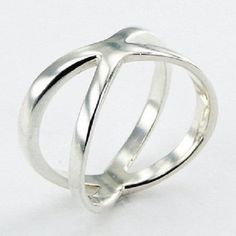 Silver ring 925 sterling diagonal crossing bands design sizes 6us - 9us new PSA