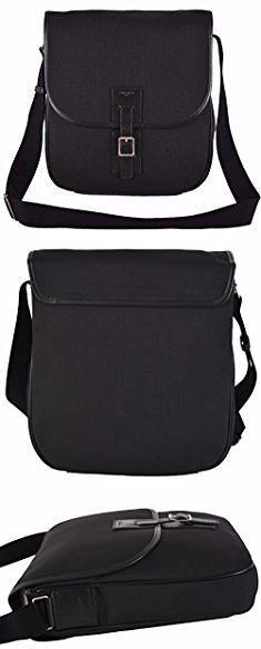 6dc7a5e7dc Saint Laurent Crossbody Bag. Yves Saint Laurent YSL Men s Black Canvas  Hunting Line Messenger Bag