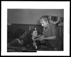 Knitting class at the Red Hook, NY, Community center, 1942. Arthur Rothstein, photo.