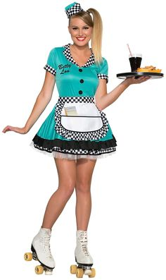 Serve up meals on wheels in our women's teal car hop waitress costume, including style teal dress with black and white checked trim, apron, envelope hat and Adult Costumes, Costumes For Women, Halloween Costumes, 1950s Costumes, Nerd Costumes, 70s Costume, Vampire Costumes, Hippie Costume, Halloween Forum