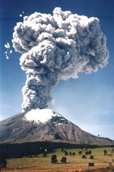 "Popocatepetl, an active volcano in Central Mexico ~ in the Aztec language of Náhuatl, Popōca means ""that smokes"" and tepētl ""volcano"" or ""not inhabitable"""