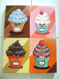 Hermoso cuadro de cupcakes perfecto para la cocina