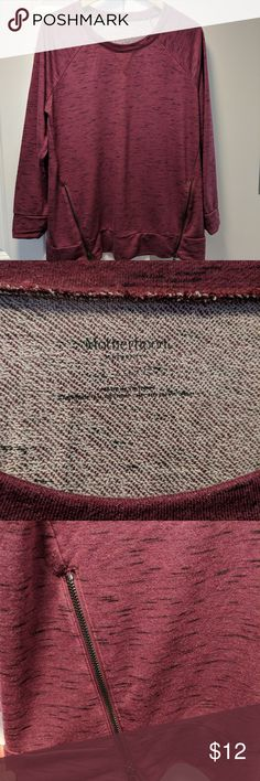 Motherhood Maternity top Maroon maternity top with zipper accents on the bottom, size large, small white imperfection (see photos), previously used but in good condition, smoke and pet free home Motherhood Maternity Other