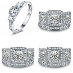 Aurora -  White Gold Princess Diamond Cut Engagement Wedding Ring Set https://lamiacara.com/collections/new-arrivals-la-mia-cara-jewels/products/aurora-white-gold-princess-diamond-cut-engagement-wedding-ring-set?utm_content=buffer8c0b2&utm_medium=social&utm_source=pinterest.com&utm_campaign=buffer