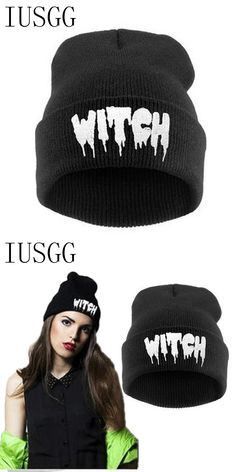 01044f58008cd Letter WITCH Knitted Gorro Caps Men Woman Winter Hats Autumn Hip-Hop Sport  Beanies Warm