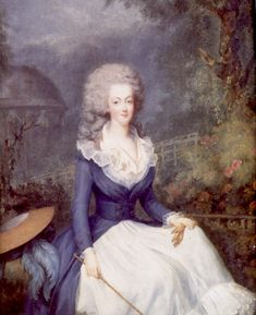 1778 Marie-Antoinette wearing riding dress by Antoine Vestier (private collection) mod