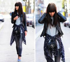 Givenchy Obsedia Bag, Chanel Espadrilles, Leather Jacket, Sheer Checked Shirt