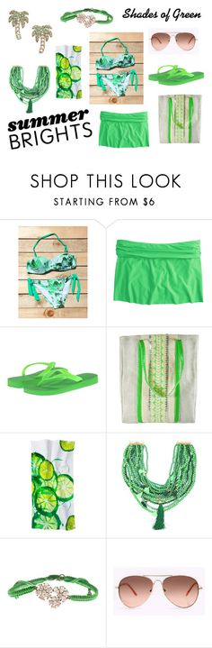 """""""Summer Brights - Shades of Green"""" by holly32196 ❤ liked on Polyvore featuring J.Crew, Havaianas, Sweetlime, Rosantica, Tai, Kate Spade, GREEN and summerbrights"""