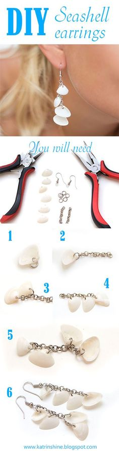 Seashell dangle earrings DIY