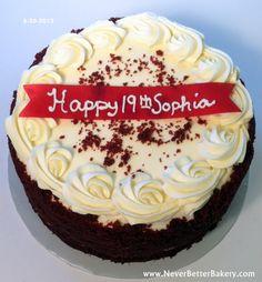 Never Better Bakery's Red Velvet cake for a birthday.