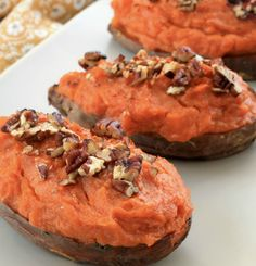 Our twice baked sweet potatoes are made with chipotle chili powder, chopped pecans and drizzled with maple syrup—it's the perfect combination of sweet and savory! - Everyday Dishes & DIY