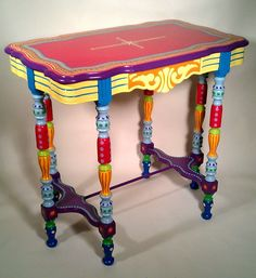 SOLD Sample by CUSTOM WORK Hand Painted Furniture Side Table or Accent Table listing for a deposit or down payment - Creative Upcycled Furniture Whimsical Painted Furniture, Painted Chairs, Hand Painted Furniture, Funky Furniture, Refurbished Furniture, Colorful Furniture, Paint Furniture, Unique Furniture, Repurposed Furniture