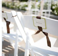 chair reserved signs for the ceremony, looks to be a pretty easy DIY too