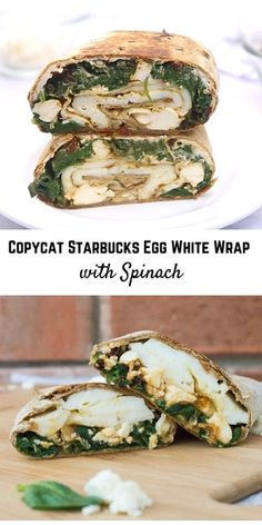 Make a copycat Starbucks Egg White Wrap with Spinach and Feta. So easy and you can't beat the flavor! Filling and satisfying, it is the perfect breakfast. white Copycat Starbucks Egg White Wrap with Spinach Good Healthy Recipes, Healthy Breakfast Recipes, Brunch Recipes, Vegetarian Recipes, Cooking Recipes, Vegetarian Wraps, Vegetarian Sandwiches, Healthy Wraps, Healthy Filling Breakfast