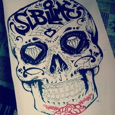Art, skull, drawing
