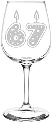 67th | Glitter & Stars Birthday Cake Candle Inspired - Laser Engraved Libbey All-Purpose Wine Glass.  Fast Free Shipping & 100% Satisfaction Guaranteed.  The Perfect Gift!