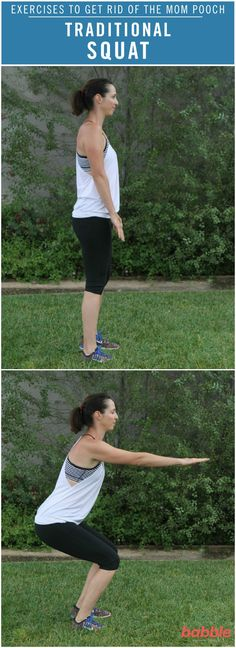 As moms, we all dream of having our old, pre-pregnancy bodies back. However, we all know that it's a lot easier said than done. Luckily. we've created a workout routine to help you get on the right track of making this dream a reality. The Traditional Squat is one of the simple exercises from this routine that will build your strength. No supplies are needed for this exercise to get started on losing that mom pooch! Click for the full directions.