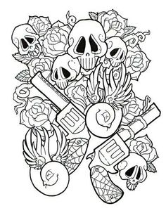 Another Piece For My Sleeve Adult Coloring PagesColoring BooksColouringGUn TATTOOsI Tattoo Sugar SkullsDesign