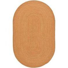 Hand-woven Reversible Peach/ Green Braided Runner (8' x 10' Oval)