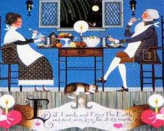 """""""Dining Sweethearts"""" jigsaw puzzle by Charles Wysocki, 2005; 1000 Pieces; 22-9/32"""" x 25-9/16""""; Purchased 29 Nov 2016 at Deseret Industries in American Fork, UT, for $2.00"""