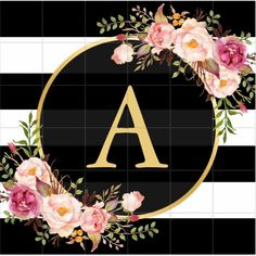 Shop Gold Monogram with Black White Striped Floral Deco Classic Round Sticker created by CardHunter. Monogram Wallpaper, Alphabet Wallpaper, Name Wallpaper, Flower Wallpaper, Floral Logo, Floral Stripe, Cellphone Wallpaper, Iphone Wallpaper, White And Gold Wallpaper