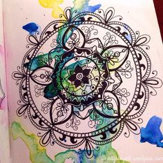Detail of my latest mandala.  Mixed brand watercolors and Sakura micron pens in pocket Leuchtturm1917 sketchbook prepped with Liquitex white gesso.  #the100dayproject #doodleeveryday #dailydoodle2016 #odysseyartdoodles #odysseyartart #odysseyartwatercolors #illustration #art  #sketch #sketchbook #drawing #doodles #watercolor #leuchtturm1917 #sakuramicron #mandala http://ift.tt/23VOEOv http://ift.tt/28NYcES