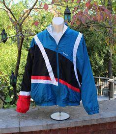 Reebok Vintage Full Zip coupe-vent veste sport homme XL multi Ropa Retro 51d5e6756d7