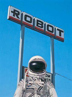 """ROBOT,"" another astronaut painting by Scott Listfield. Cosmos, Illustration Arte, 3d Foto, Steampunk, The Jetsons, Major Tom, Arte Pop, Retro Futurism, Science Fiction"