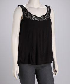 Mom Fall Essentials!   Black Lace Tank - Plus  #fall #zulily