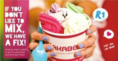 If you don't like to MIX it, we can Fix it!  Grab an insert, unfold it, put it in your bowl and swirl your Froyo! #caldeonsquare #wakaberry