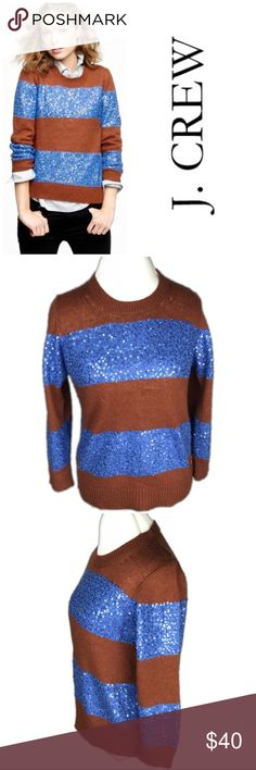 J. Crew Brown & Blue Wynter Sequin Stripe Sweater. J. Crew Brown & Blue Wynter Sequin Stripe Sweater. The shiny blue sequins give you the versatility to dress up or dress down your outfit depending on the the type of pants you wear.   Gently worn. Mild pilling. Mild occasional snags of threads attached to sequence shown in last picture. Must be close to see. Overall in good condition.   Size L  Acrylic, nylon, wool, and mohair  Shoulder 15 inches  Bust 20 inches Sleeve 21 inches  Length 24…