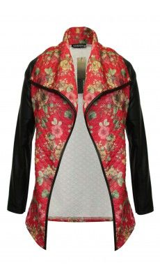 Pu Sleeve, Quilted Floral Print Jacket