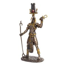 """Made from Cold Cast Resin (Bronze Like Finish) H: 12.5"""" x W:5.25"""" x L: 3.75"""" Thoth was one of the deities of the Egyptian pantheon. In art, he was often depicted as a man with the head of an ibis or a"""