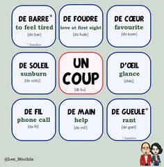 "Voici quelques expressions avec le mot ""un coup"". Try to make a sentence using one of them. ✏️  #expressions #learnfrench #fle Les Machin  (@Les_Machin) 