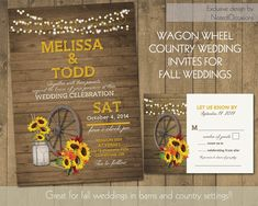 Rustic Sunflower Wedding Invitations Suite Country Western Wagon Wheel Mason Jar Fall Leaves Rustic Barn Wood Lights DIY Wedding printable