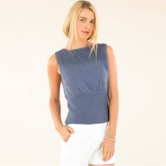 The Sublime cool blue tank - hand knits with a modern, luxurious edge.