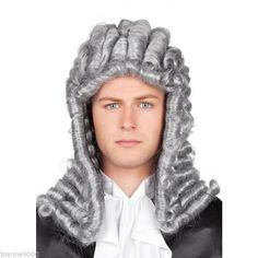 GREY ADULT JUDGE WIG BARRISTER LAWYER COURT JUDGES FANCY DRESS COSTUME ACCESSORY