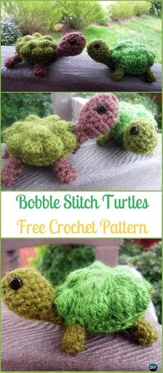 Crochet Amigurumi Bobble Stitch Turtles Free Pattern - Crochet Turtle Amigurumi Free Patterns