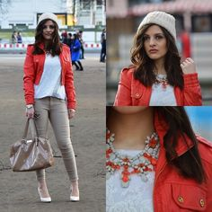 Feel For Fashion Jacket, Gina Tricot Beanie, Zara Sweater, Feel For Fashion Pants, Mango Bag, Jumex Heels, Zara Necklace